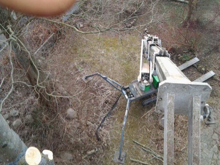 Træet nedskæres fra lift