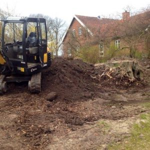 Opgravning af rødder og træstubbe