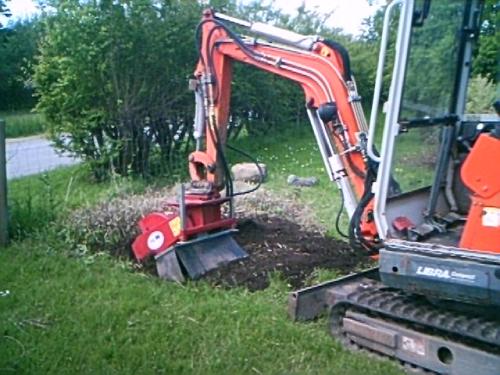 Stubfræsning i have, med stubfræser på minigraver